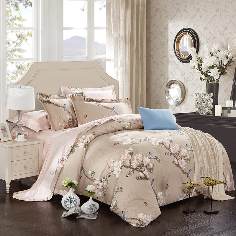 100 Cotton soft bed linen set flowers birds print Bedding sets king queen size Bed set
