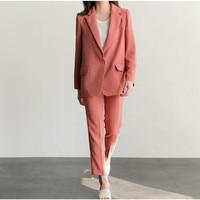 High Quality Fashion New Business Pant Suits Set Blazers Formal Women OL Elegant Solid color 2 Piece Sets Uniform Jackets Set