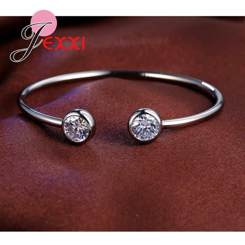 Marvelous Weibliche 925 Sterling Silber Offene Stulpe-armband Helle Perle Shiny Cubic Ziron Schmuck Für Reise Partei