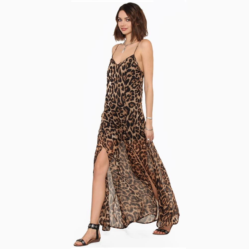 a1872610b575 Witsources Maxi Dress women sexy deep V neck spaghetti strap backless leopard  print long chiffon dresses SD2261