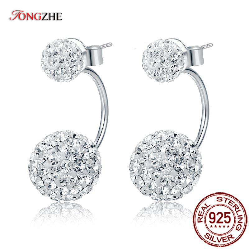 39e3317ba TONGZHE Authentic 100% 925 Sterling Silver Earrings Two Way Wearing Clay Micro  Pave Disco Ball Earrings for Women KLTE011-1