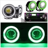 2Pcs Car Auto 2 5 20W White Daytime Driving Fog Runing Lamp With Green COB Halo