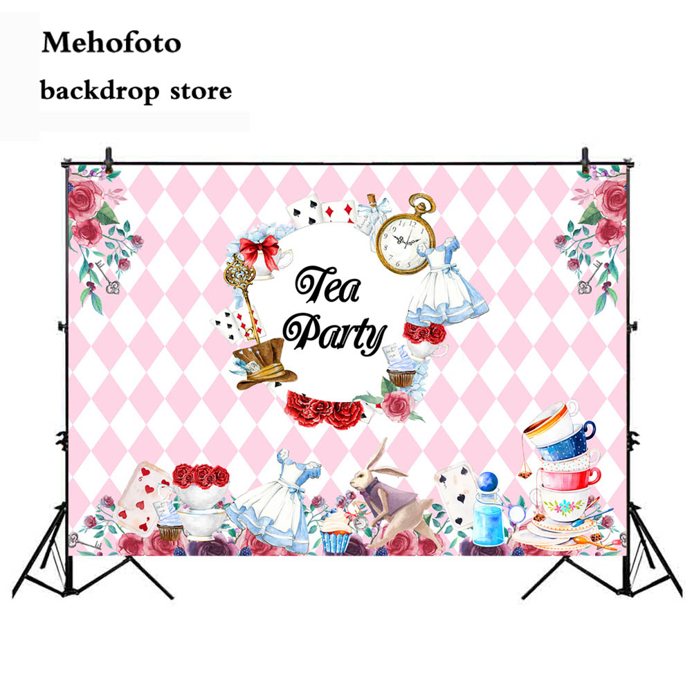 Mehofoto Tea Party Photography Backgrounds Pink Photo Booth