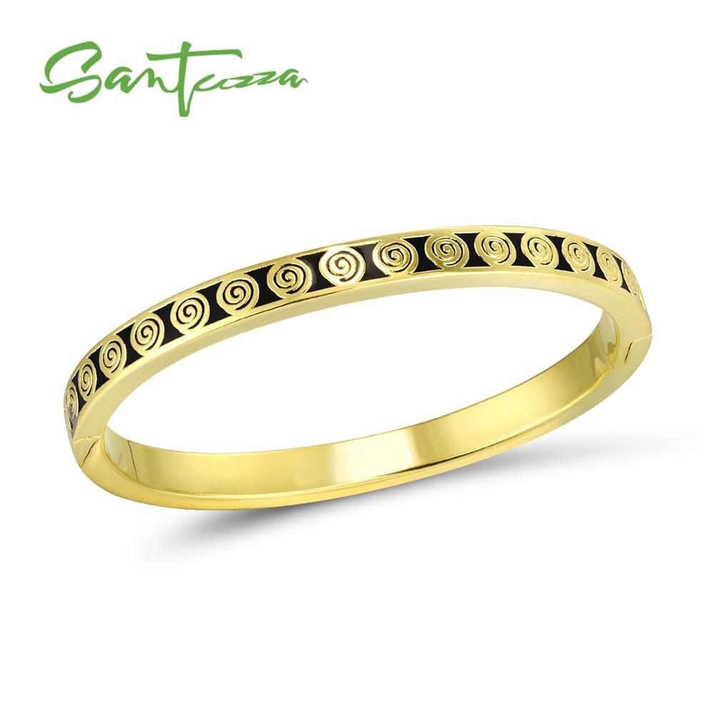 SANTUZZA Bangle for Woman Black Enamel Brass  Bracelet Bangle Party Fashion Jewelry HANDMADE