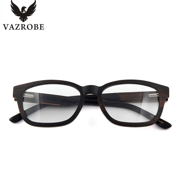 22abce0fc2 Vazrobe Handmade Zebra Ebony Wood Glasses Frame Men Women Fashion Wooden Eyeglasses  Frames for Male Prescription Lenses Wood