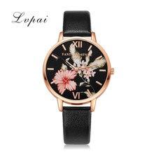 Lvpai Часы Для женщин кварцевые наручные часы женская одежда подарок Часы Мода розовое золото Цветы Наручные Часы Relogio feminino