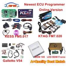 Discount!! KESS FW5.017 ECU Programmer Online Version+KTAG 7.020 + Fgtech V54+LED BDM Frame+BDM 100 KESS V2.23 Full Set DHL Free