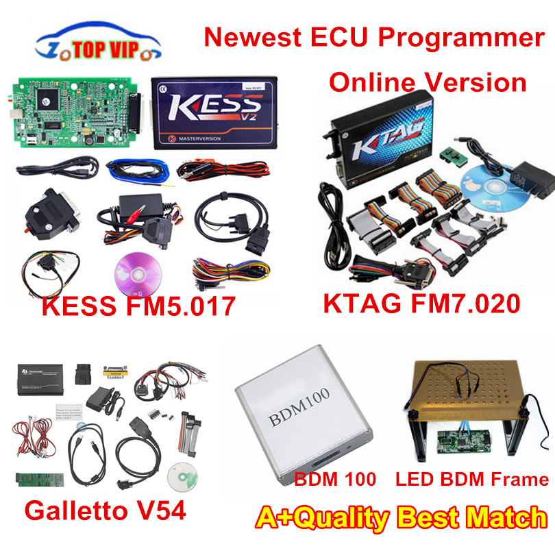 Remise!! KESS FW5.017 ECU programmeur Version en ligne + KTAG 7.020 + Fgtech V54 + LED cadre BDM + BDM 100 KESS V2.23 ensemble complet DHL gratuit