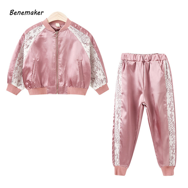 b7a0cf435 Benemaker Children Autumn Lace Sets For Girls Baby Kids 2 Pcs Tracksuits  Children's Clothing Costume Pants Bomber Jackets JH053