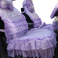 Fashion Luxury Purple Double deck lace  women car seat cover full set of molding automobile seat covers front and rear bench set
