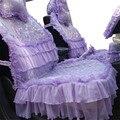 Moda de Luxo Roxo Double deck mulheres rendas tampa de assento do carro cheio conjunto de moldagem banco conjunto de tampas de assento dianteiro e traseiro do automóvel