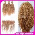 7А Блондинка Монгольской Волос Девы Странный Вьющиеся Ткет 3 Пучки С Закрытия Шнурка Фронтальная #27 Блондинка Меда Человеческих Волос расширения