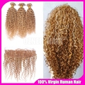 7A Blonde Mongolian Virgin Hair Kinky Curly Weaves 3 Bundles With Lace Frontal Closure #27 Honey Blonde Human Hair Extensions
