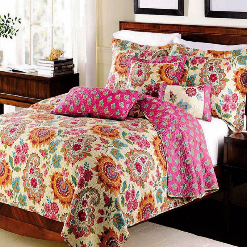 Quality Printed Quilt Set 3PCS Bedspread Washed Cotton Quilts Bed Covers Aircondition Bedding Pillowcase King Size Coverlets