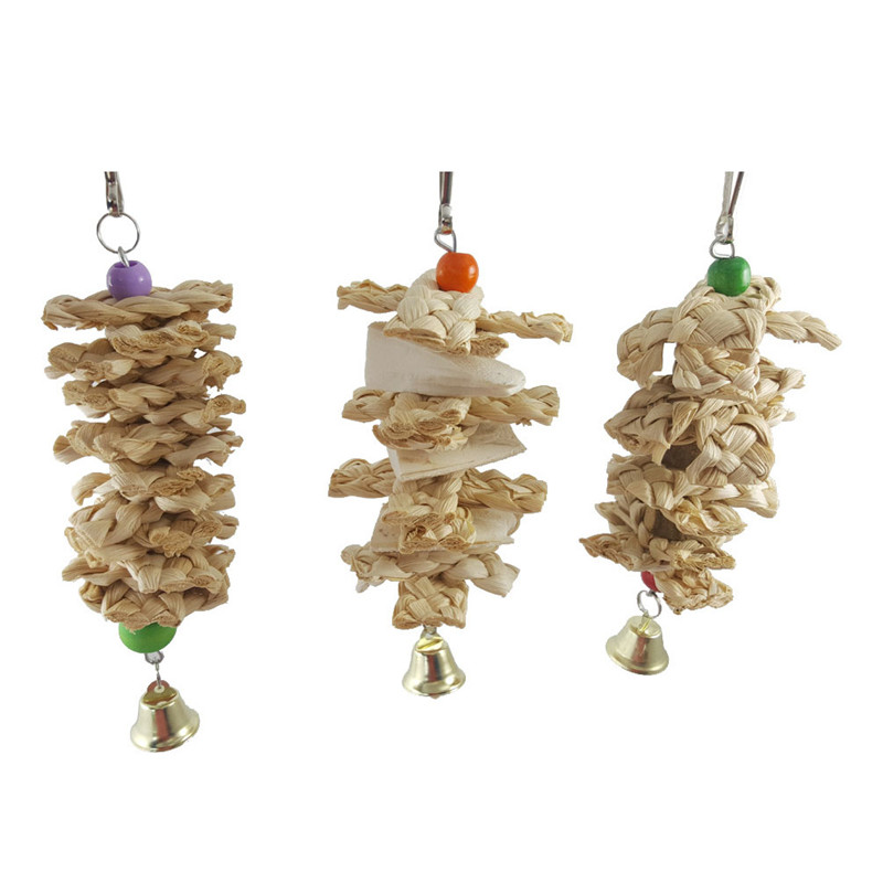 Pet Parrot Bird Toys Natural Wooden Grass Chewing Bite Hanging Cage Bell Swing Climb Toy