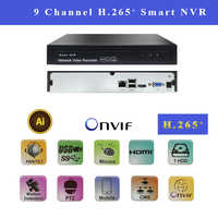 NVR 9CH 1080P H.265 IP Video Recorder Supports H.264 onvif 1VGA+HDMI FTP photo alarm IP camera recorder for security cctv camera