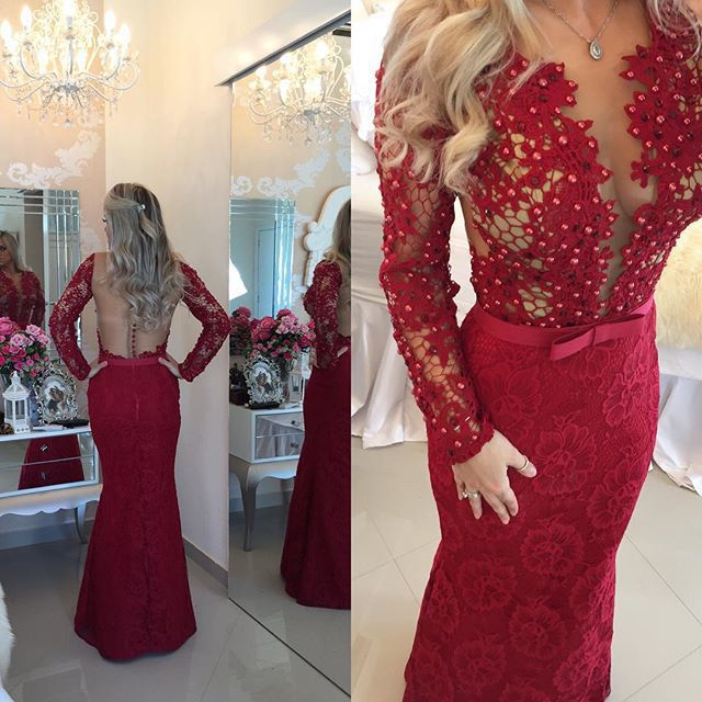 Vestido de festa longo Red Lace Mermaid Evening Dresses Long Sleeve Pearls  Sexy Backless Formal Gowns Special Occasion Dresses 2bcbca476790