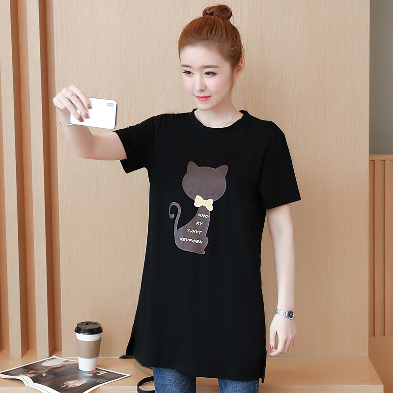 2018 Large size Women T-shirt dress summer Short sleeve Cats print Top Tees Casual O-neck Loose Female Tshirt Plus size 5XL J215 4