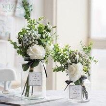 גיברת מלאכותי פרחים לחתונה אגרטלי פרחי בית תפאורה מלאכותי פרח זר עם אגרטל חתונת שולחן קישוט