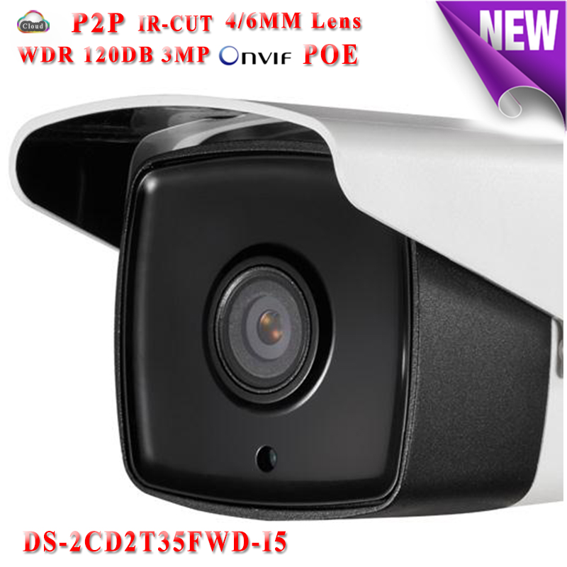Hikvision CCTV camera DS-2CD2T35FWD-I5 security WDR 120DB Network IP camera POE 3MP Bullet waterproof IP66 outdoor IR TF Card