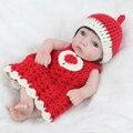 28 cm Completo Cuerpo de Niña Bebe Renacida Bebé de Silicona de Vinilo Muñecas Lindo muñeca con Vestido Azul Niños Recién Nacido Juguetes para el Día De Navidad Regalos