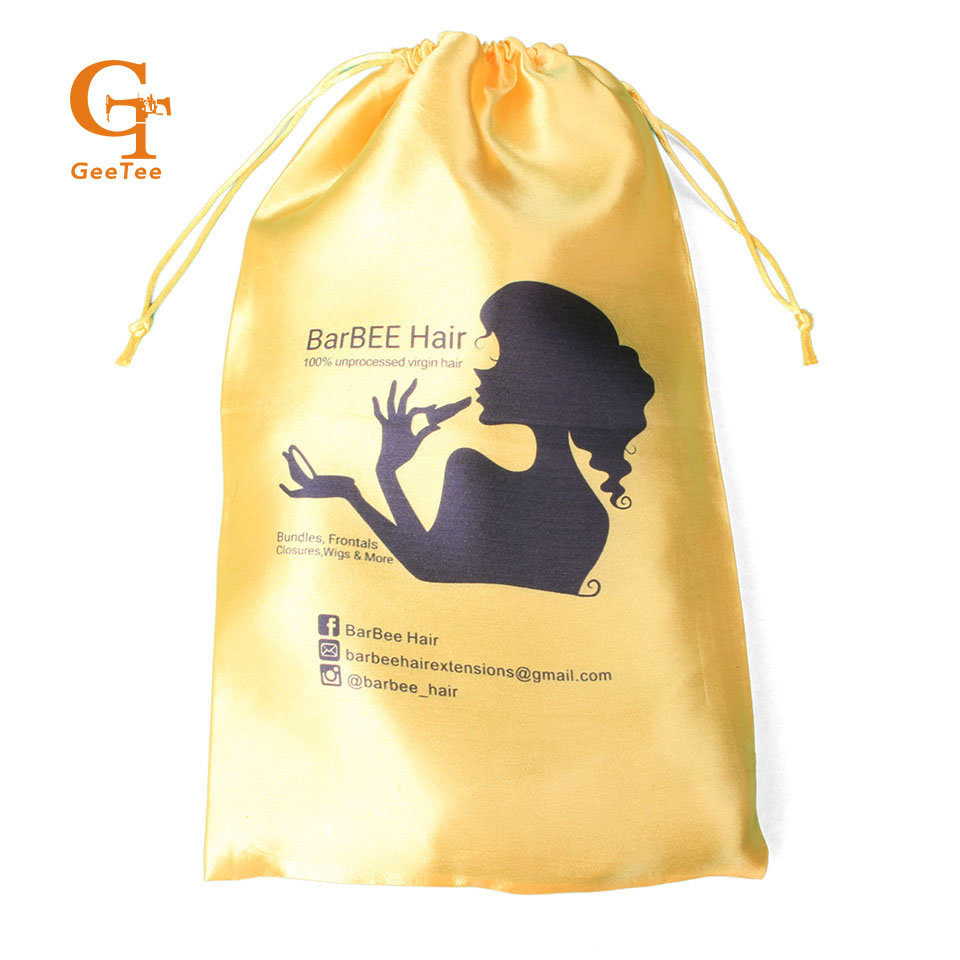 Custom Satin Drawstring Bags For Virgin Human Hair Bundles Extensions Customized Women Packaging In Gift Wring Supplies From Home