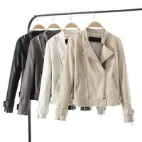 New Autumn Fashion High Quality Street Women's Short Washed PU Leather coat Zipper Lapel 4 Colors Ladies Basic Jackets top XDS 2