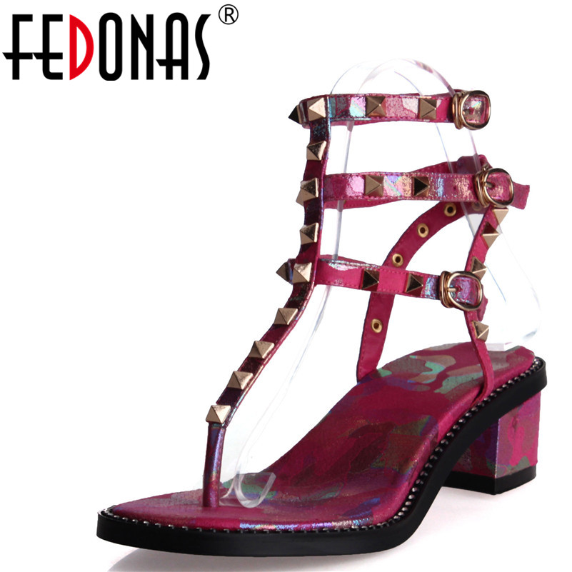 FEDONAS Summer Women Sandals New Fashion High Heeled Shoes Woman Sexy Genuine Leather Rivets Punk Sandals Women Night Club Shoes 407pcs sets city police station building blocks bricks educational boys diy toys birthday brinquedos christmas gift toy