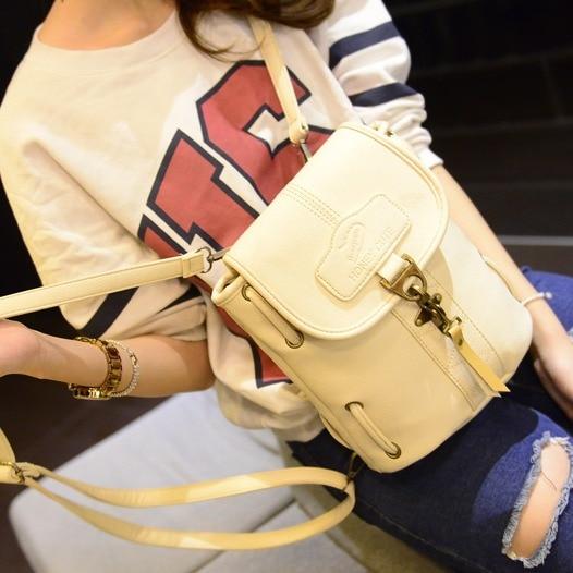 Casual solid color mori girl japanese and korean backpack vintage PU Leather fashion shoulder bag school