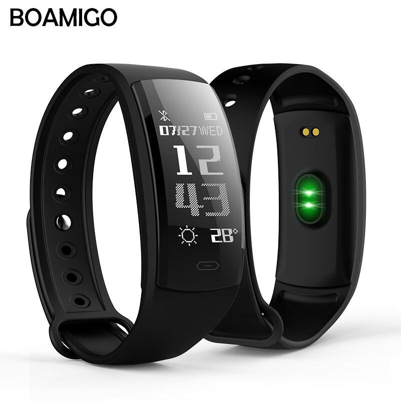 Smart watch BOAMIGO marke armband armband OLED herzfrequenz nachricht erinnerung schrittzähler kalorien bluetooth für IOS Android-handy