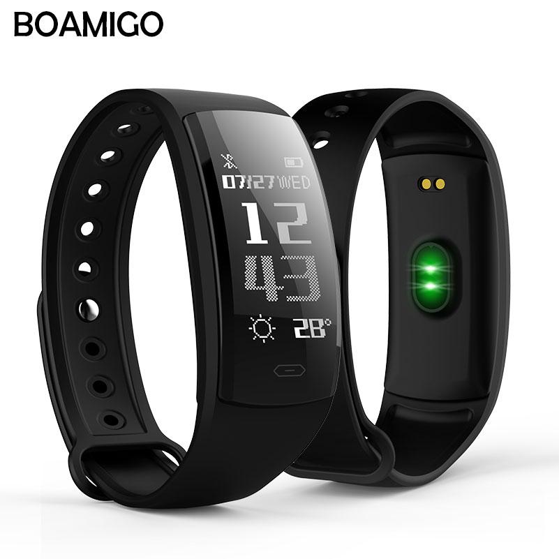 Smart watch BOAMIGO marke armband armband OLED herz rate nachricht erinnerung pedometer kalorie bluetooth für IOS Android telefon