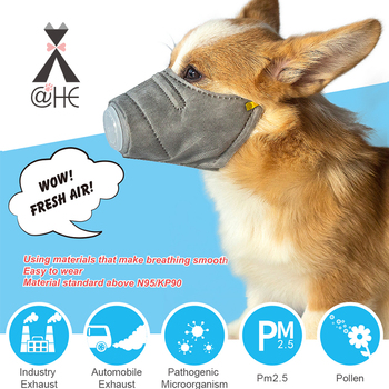 @HE Dog Soft Face Cotton Mouth Mask  Pet Respiratory PM2.5 Filter Anti Dust Gas Pollution Muzzle  Anti-fog Haze Masks For Dogs
