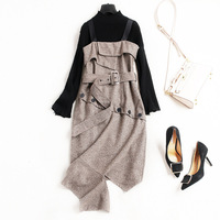 Women Fashion Woolen Autumn Winter Dress Cut Out Sashes Spaghetti Strap Irregular Sexy Dresses Knit Blacktops