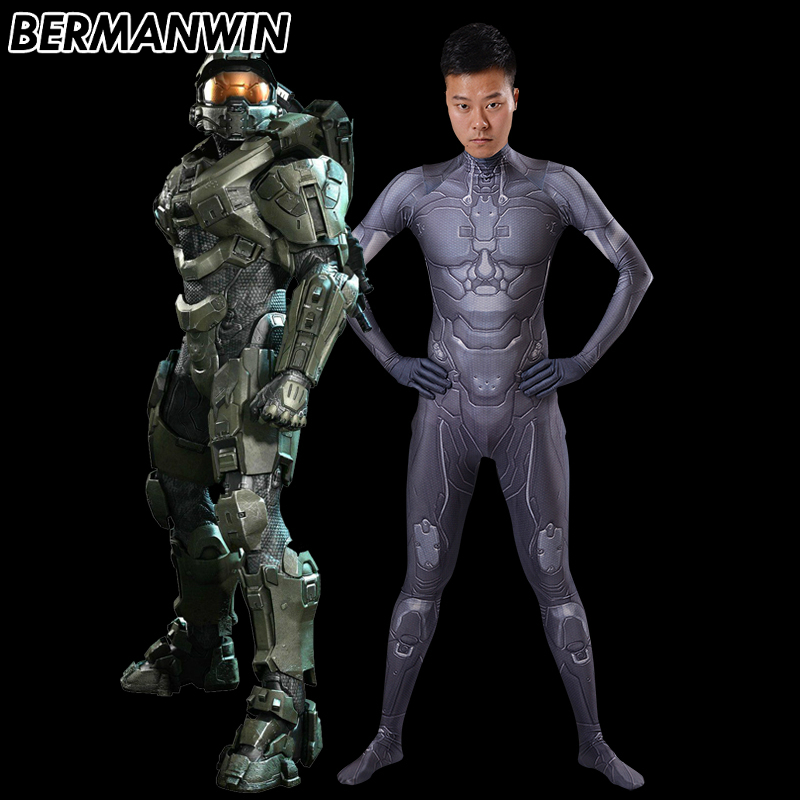 BERMANWIN High Quality Game Halo Undersuit 3D Print Spandex Superhero Costume Halo Master Chief Costume Halloween Costume adult