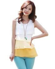 New Fashion Women Casual Blouses Sleeveless Neck Flounce Tiered Chiffon Shirt Blusas Femininas Plus Size