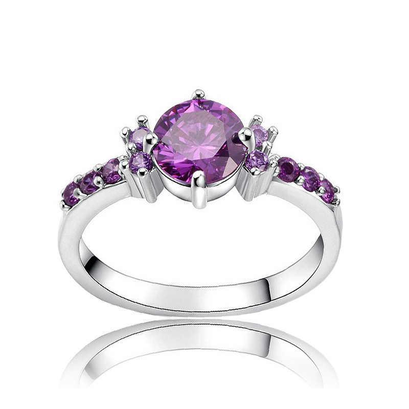 สีม่วง Zircon หมั้นงานแต่งงานแหวนเงินสีหญิงคริสตัล Vintage แฟชั่นเครื่องประดับ