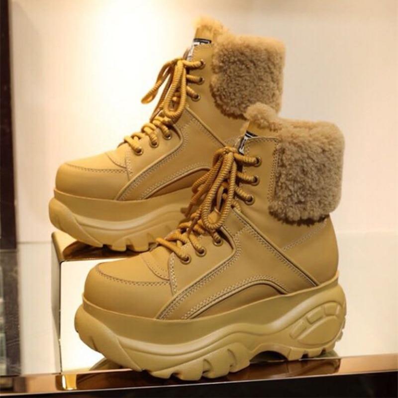 جديد الأزياء عالية أحذية نسائية زيادة الأحذية النسائية الشتاء سميكة سوليد جلد طبيعي الدافئة الجوارب عارضة الرياضة MS أحذية-في أحذية الكاحل من أحذية على  مجموعة 1