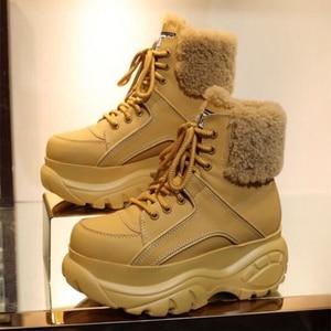 Image 3 - الشتاء موضة الأبيض أحذية نسائية عادية جلد طبيعي منصة رياضية عالية أعلى أحذية نسائية جديدة مريحة الصوف الأحذية الدافئة