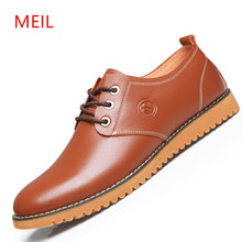MEIL Leather Shoes Men Casual New 2018 Genuine Oxford Fashion Lace Up Dress Outdoor Shoe sapatos