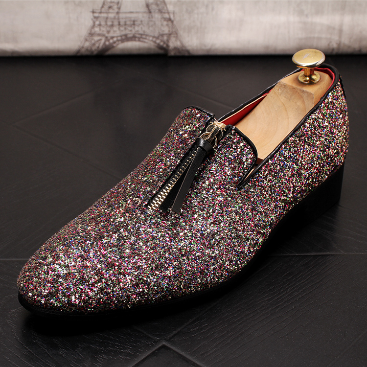 luxury Brand Classic Man Pointed Toe Dress Shoes Mens Sequined Black Silver Wedding Moccasins Flats Slipe On Shoes 5