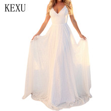 KEXU Vestido De Festa Sweet White Lace V-neck Long Maxi Dress Bride Party Sleeveless Hollow Out Formal Banquet Berthday Dresses