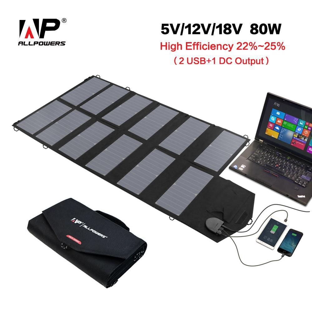 Allpowers piega pannello solare 18 v 80 w pannello solare caricabatteria per iphone sumsung htc telefoni lenovo hp dell acer computer portatili e così via.