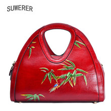 Genuine Leather women bags for 2019 new luxury handbags designer  Embossing leather Art tote