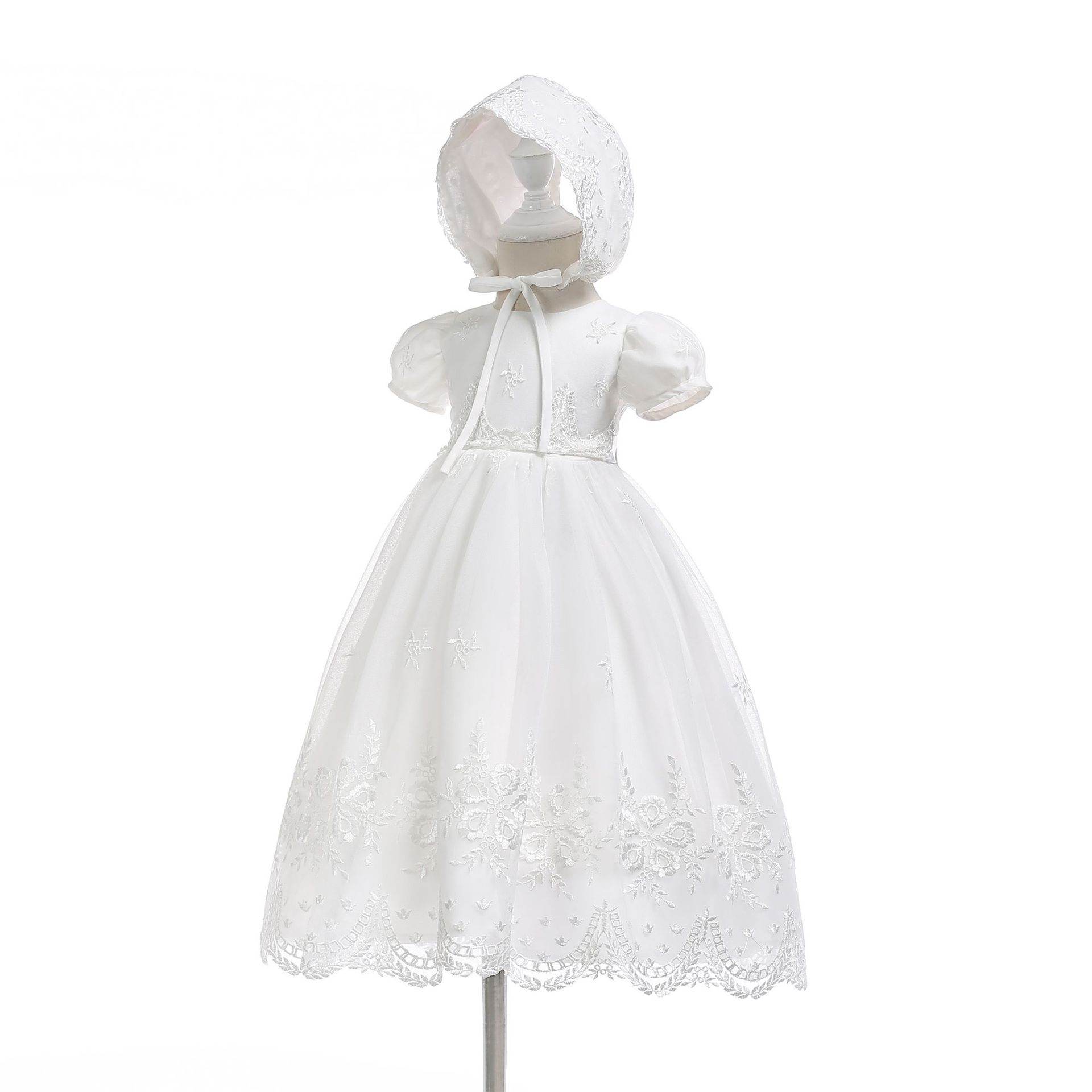White Birthday Baby Girls Dress Long Floor Baby Girl Baptism Christening Clothes 2018 Newborn Clothes 3 6 12 24 Month 184042 недорого