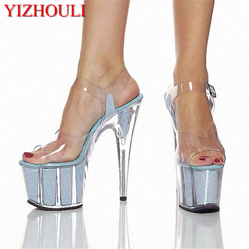 women's shoes pole dancing shoes 15cm high heels sandals crystal shoes clear Sparkling Glitter wedding shoes 15cm ultra high heels sandals ruslana korshunova platform crystal shoes the bride wedding shoes