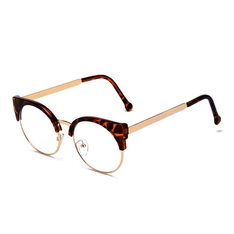 Retro Frauen Markendesigner Katzenauge Brille Halb Rahmen Klare ...