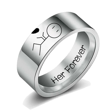 Women His Queen Stainless steel Ring Silver Color Simple Design Her King Couple Ring Wedding Ring for Female Men 3