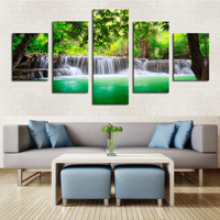 Unframed 5 Panels Green Waterfall Scenery Canvas Print Painting Modern Canvas Wall Art for Wall Pcture Home Decor Artwork