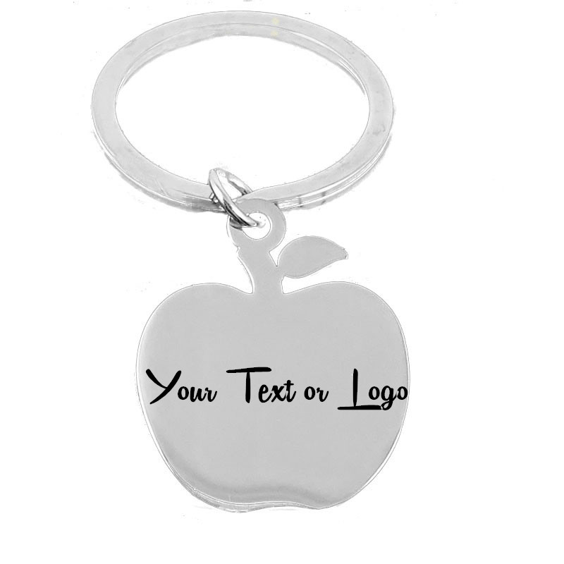 Teachers Day Gift Teacher Appreciation Keychains Stainless Steel Personalized Engraved Apple Keychains