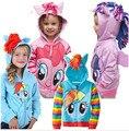 1-16Y Chica hoodies little pony Niños Chaquetas de Los Niños Muchachas de la Capa de Abrigo y Sudaderas Con Capucha Chaqueta de Las Muchachas Niños Ropa ropa de Dibujos Animados
